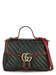 Women Shoulder Bags Marmont Black Red Leather