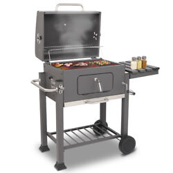 Charcoal Bbq With Wheels Portable Cast-iron Grill Camping Backyard Barbecue Us