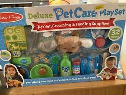 Melissa And Doug Deluxe Pet Care Play Set Ages 3+ Pet Vet Grooming Feeding Supply