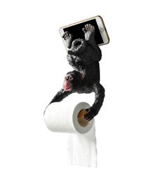 Resin Monkey Sculpture Roll Paper Holder Wall Mounted
