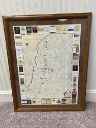 1999 Napa Valley Wine Tour Map Vintage Expedition Winery Bottle Labels Framed