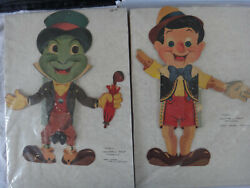 Vintage Disney Pinocchio And Jiminy Cricket Paper Campbell's Soup Premiums 1950s