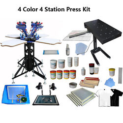 New 4 Color 4 Station Screen Printing Kit Flash Dryer Consumable Usa 006963