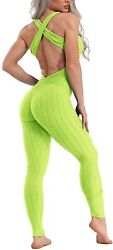 Riojoy Womens Sexy Backless Jumpsuit Ruched Butt Lift Yoga Playsuit Gym Workout