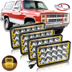 4pcs 4x6'' Cree Led Headlights Amber Halo Drl Fog Lamps For Chevy Camaro Caprice