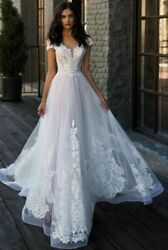 Plus Size Wedding Dresses Sweep Train Illusion V Neck Off Shoulder Lace Applique