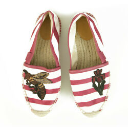 Striped Canvas Bee And Flower Pink White Flat Shoes Espadrilles Size 38