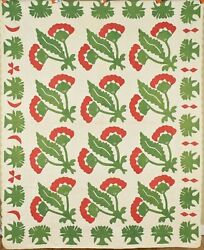 Museum Quality Vintage 1850and039s Red And Green Applique Antique Quilt Tree Border