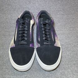 Vans Off The Wall Purple Plaid Suede Low Top Skateboarding Shoes Size 9.5 M 11 W