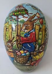 Vintage Germany Lg 10 Paper Mache Easter Egg Candy Container W/ Bunny Rabbits