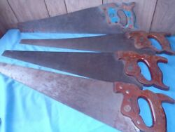 Rare Henry Disston Hand Saws D-23 D-8 Stamp In The Blades 4 Pieces