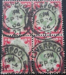 Great Britain 1902 Evii One Shilling Block Of Four Sg 257 Used