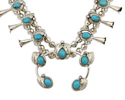 Navajo Squash Blossom Necklace .925 Silver Blue Turquoise Native Artist C.80s