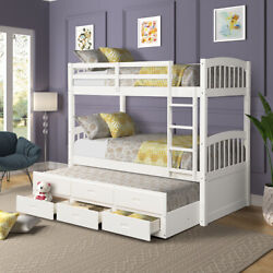 Wooden Bunk Beds Twin Over Twin With Ladder Storage Trundle Drawers Safety Rail