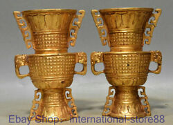6 Antique Chinese 24k Gold Gems Dynasty Palace 2 Dragon Ear Wine Bottle Pair