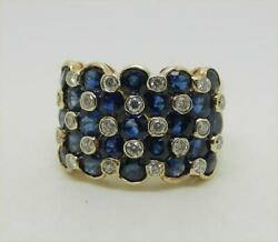 Vintage 18k Yellow Gold Sapphire And Diamond Ring Size 5.5 - Lb3220