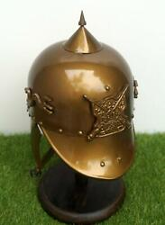 Brass Finish Victorian Fireman Fire Fighter Chief Helmet Wearable Collectible