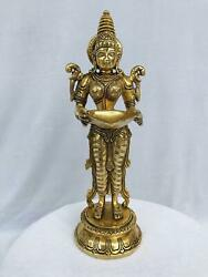 Lord Deep Laxmi Vintage From The 1990s Brass Made Handmade For Temple Use