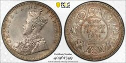 India George V Silver Rupee 1911 Bombay Pig Style Gem Pcgs Ms65 Top Pop