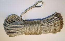 Andnbsp1/2 X 150 Gold And White Anchor Line Double Braid Nylon Boat Rope Made In The Usa