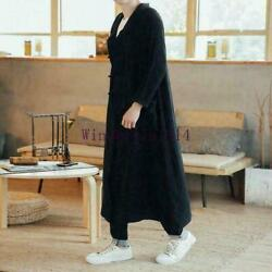 Menand039s Retro Chinese Button Hanfu Hooded Long Loose Trench Coat Outwears Clothing