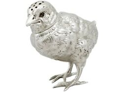 Antique Victorian Sterling Silver Bird Pepperette 1880s