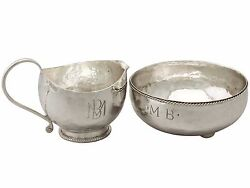 Antique George V, Arts And Crafts Style Sterling Silver Cream Jug And Sugar Bowl