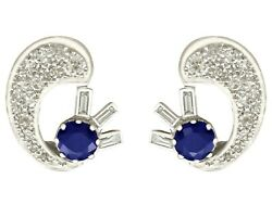 Antique 1.04 Ct Sapphire And 1.75 Ct Diamond 18k White Gold Clip On Earrings