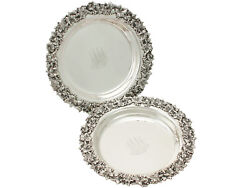 Antique Circa 1900 Pair Of American Sterling Silver Coasters
