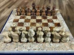 Queens Gambit Handmade Stone Marble Coral Brown Weighted Full Chess Game Set