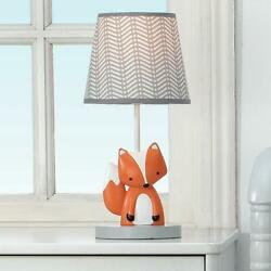 Acorn Gray/white/orange Fox Nursery Lamp With Shade And Bulb - 2 Day Delivery