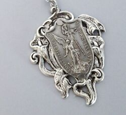 Saint Michael Necklace Vintage Jewelry Catholic Religious Medal Silver Plated