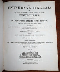 1816 Universal Herbal Botanical Medical Agricultural Dictionary T Green 2 Vols