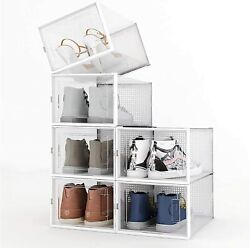 Home 6-12 Pack Plastic Stackable Shoe Storage Organizer Clear Drawer Folding Box