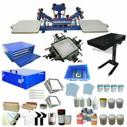 Updated Full Set 4 Color 2 Station Silk Screen Printing Kit Machine And Press Tool