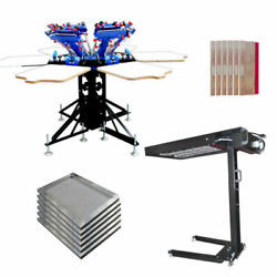 Updated 6 Color 6 Station Screen Printing Press And Flash Dryer Package Kit Diy