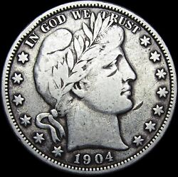 1904-s Barber Half Dollar Silver Coin ---- Rare Date Nice Details  ---- L583