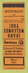 Matchbook Cover Edward Clabby Match Collector Malad Id Perkins Americana Orange