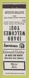 Matchbook Cover - Edward Clabby Match Collector Malad Id Perkins Americana White