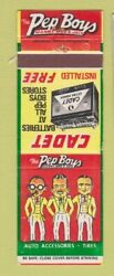 Matchbook Cover - Pep Boys Auto Parts Cadet Battery Cornell Tires