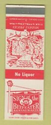 Matchbook Cover - Sign Of The Beefeater Royal Oak East Detroit Dearborn Mi