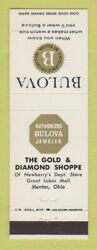 Matchbook Cover - Bulova Watches Gold Diamond Jewelry Mentor Oh