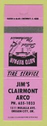 Matchbook Cover - Jimand039s Clairmont Arco Oil Gas Oregon City Or Pink