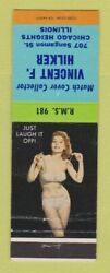 Matchbook Cover - Vincent Hilker Match Collector Chicago Heights Il Pinup