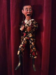 Antique Carved Wooden Articulated Ventriloquist Marionette Puppet