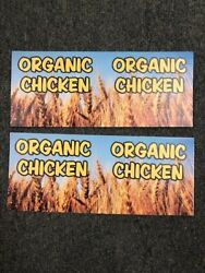 Organic Chicken Signs Retail Display Signs 2lot 14quot; x 5 3 4quot; plastic 2sided