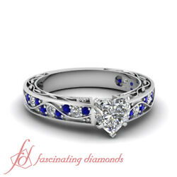 1 Carat Heart Shaped Diamond And Sapphire Gemstone Vintage Looking Engagement Ring
