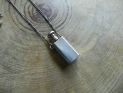 Silver Plated Perfume Essential Oil Bottle Pendant And Chain Necklace 24.5