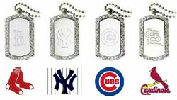 1 Crystal Edged Dog Tag Necklace New Official Mlb 23 Chain Unisex Choose Team