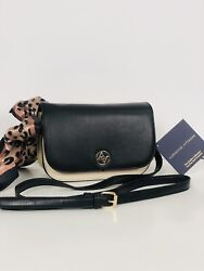 Adrienne Vittadini Top Flap Scarf Crossbody The Emilia Collection Blk Beige Gold $52.00